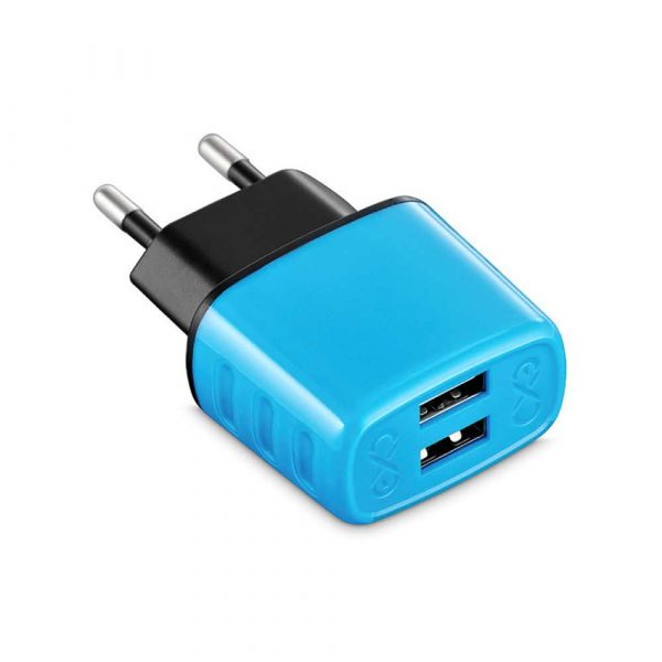 ładowarka do akumulatorów 4 alibiuro.pl Uniwersalna ładowarka sieciowa EXC Cute 2xUSB 2 4A niebieska 76
