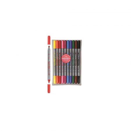 akcesoria biurowe 1 alibiuro.pl Pisaki DOUBLE POINT BIPUNTA dwustronne etui 10 kolorów Fibracolor 33
