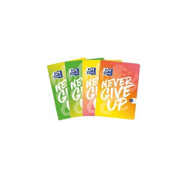 akcesoria biurowe 1 alibiuro.pl Zeszyt A4 60 kartek w kratkę Never Give Up TOUCH mix kolorów Oxford 73