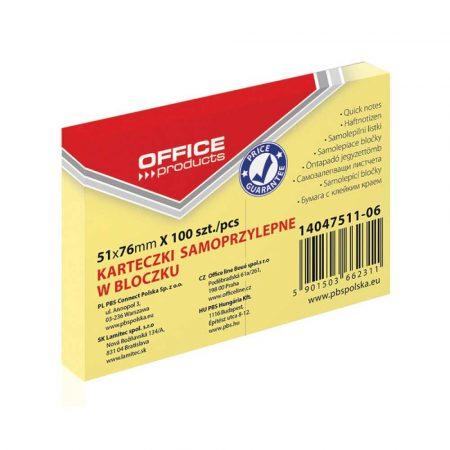 akcesoria biurowe 4 alibiuro.pl Bloczek samoprzylepny OFFICE PRODUCTS 51x76mm 1x100 kart. pastel jasnożółty 71