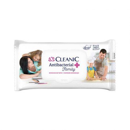 akcesoria biurowe 4 alibiuro.pl Chusteczki odświeżające CLEANIC Antybacterial Family 60szt. białe 72
