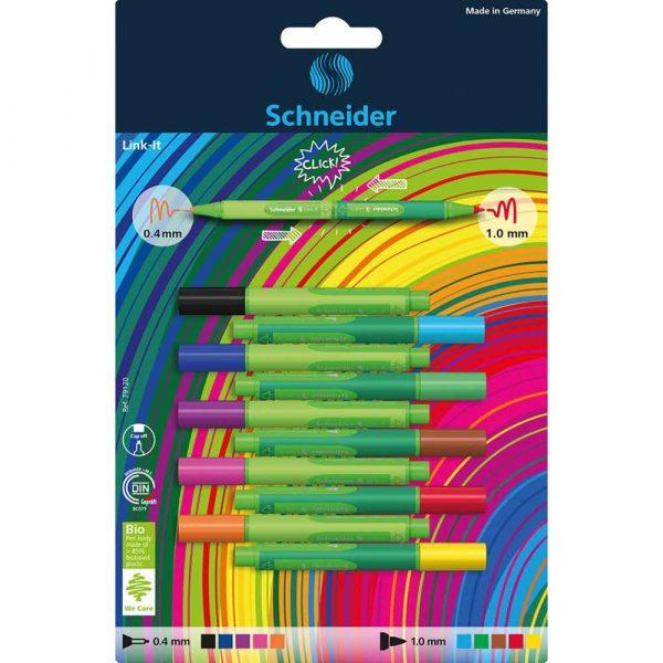 akcesoria biurowe 4 alibiuro.pl Cienkopis Flamaster SCHNEIDER Link It 5szt. 5szt. mix kolorów na blistrze 23