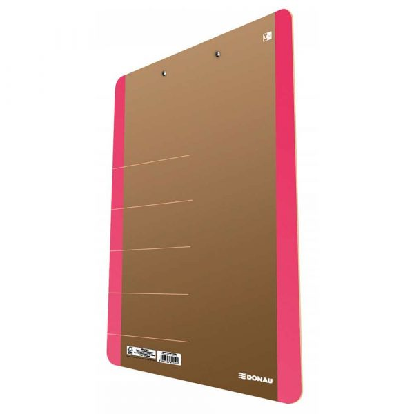 akcesoria biurowe 4 alibiuro.pl Clipboard DONAU Life karton A4 z klipsem różowy 14