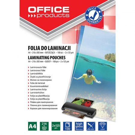 akcesoria biurowe 4 alibiuro.pl Folia do laminowania OFFICE PRODUCTS A4 2x125mikr. błyszcząca 100szt. transparentna 56
