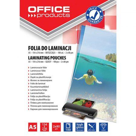 akcesoria biurowe 4 alibiuro.pl Folia do laminowania OFFICE PRODUCTS A5 2x80mikr. błyszcząca 100szt. transparentna 79