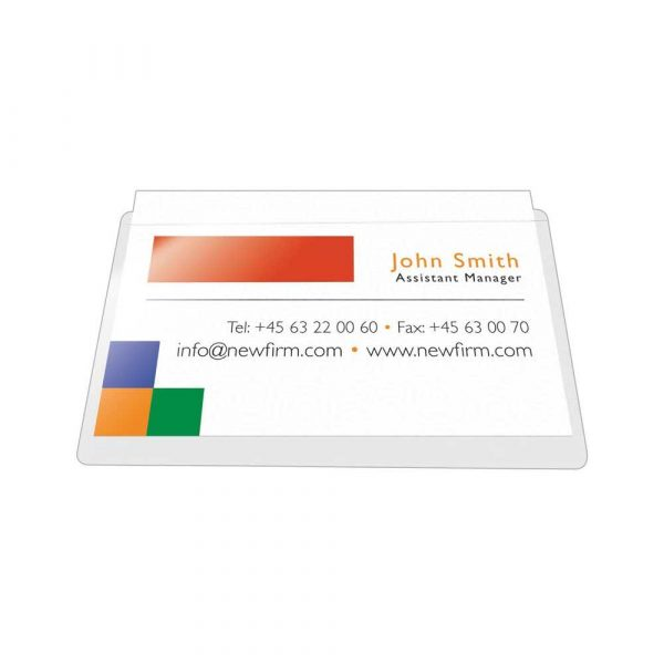 akcesoria biurowe 4 alibiuro.pl Kieszeń samoprzylepna Q CONNECT na wizytówki rozc. na dł. boku 60x95mm 10szt. 92