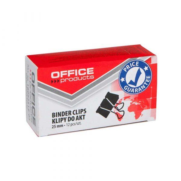 akcesoria biurowe 4 alibiuro.pl Klipy do dokumentów OFFICE PRODUCTS 25mm 12szt. czarne 57