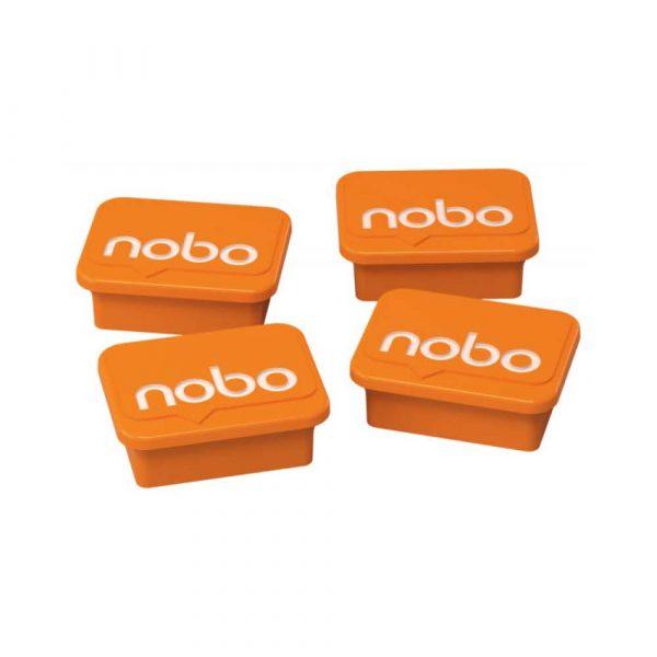 akcesoria biurowe 4 alibiuro.pl Magnesy do tablic NOBO prostokoątne 18x22mm 4szt. pomarańczowe 4