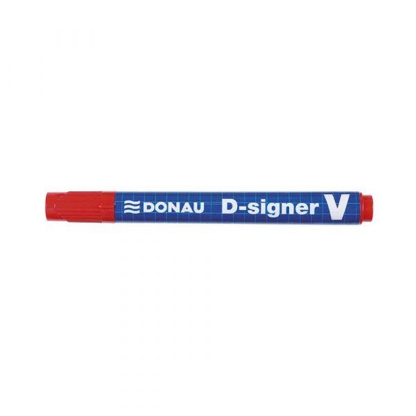 akcesoria biurowe 4 alibiuro.pl Marker permanentny DONAU D Signer V ścięty 1 4mm linia czerwony 93