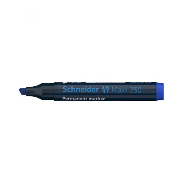 akcesoria biurowe 4 alibiuro.pl Marker permanentny SCHNEIDER Maxx 250 ścięty 2 7mm niebieski 83