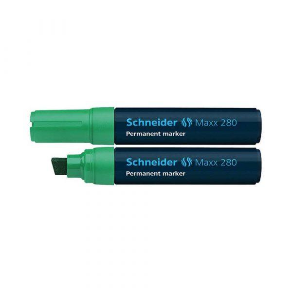 akcesoria biurowe 4 alibiuro.pl Marker permanentny SCHNEIDER Maxx 280 ścięty 4 12mm zielony 69