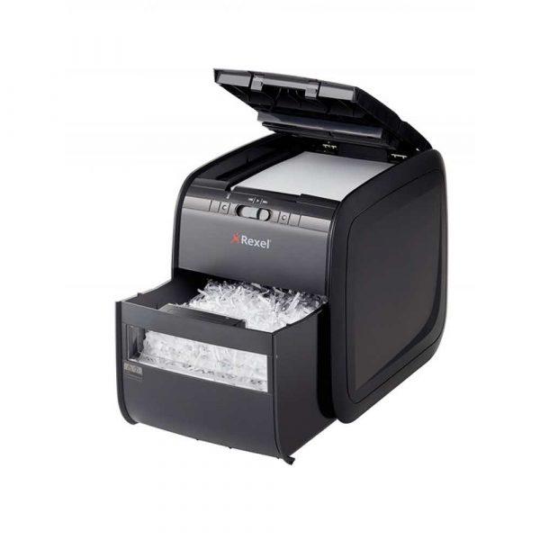 akcesoria biurowe 4 alibiuro.pl Niszczarka automatyczna REXEL Auto 90X EU konfetti P 3 90 kart. 20l karty kredytowe czarna 32