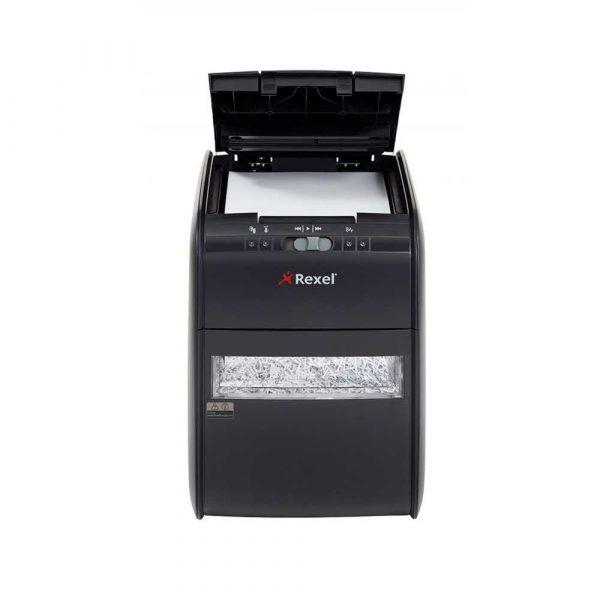 akcesoria biurowe 4 alibiuro.pl Niszczarka automatyczna REXEL Auto 90X EU konfetti P 3 90 kart. 20l karty kredytowe czarna 62