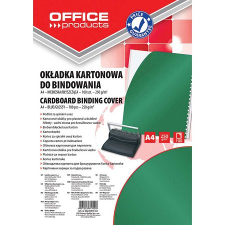 akcesoria biurowe 4 alibiuro.pl Okładki do bindowania OFFICE PRODUCTS karton A4 250gsm błyszczące 100szt. zielone 68