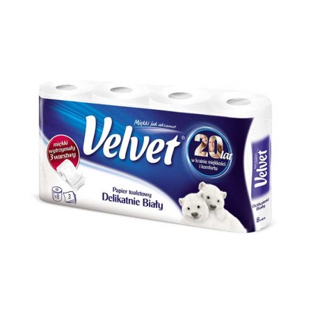 akcesoria biurowe 4 alibiuro.pl Papier toaletowy celulozowy VELVET Delikatnie Biały 3 warstwowy 162 listki 8szt. biały 25