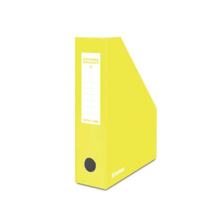 akcesoria biurowe 4 alibiuro.pl Pojemnik na dokumenty DONAU karton ścięty A4 80mm lakierowany żółty 10