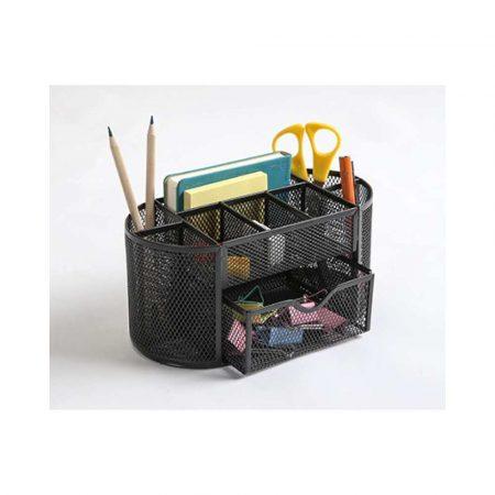 akcesoria biurowe 4 alibiuro.pl Przybornik na biurko Q CONNECT Office Set metalowy z szufladką czarny 67