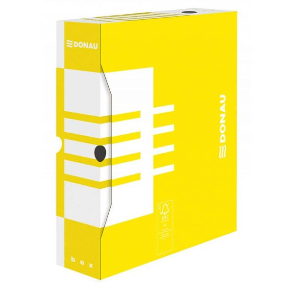 akcesoria biurowe 4 alibiuro.pl Pudło archiwizacyjne DONAU karton A4 80mm żółte 46