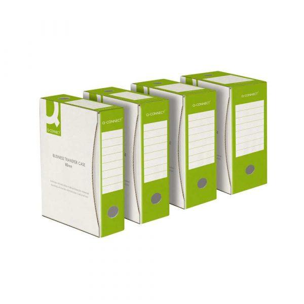 akcesoria biurowe 4 alibiuro.pl Pudło archiwizacyjne Q CONNECT karton A4 80mm zielone 77