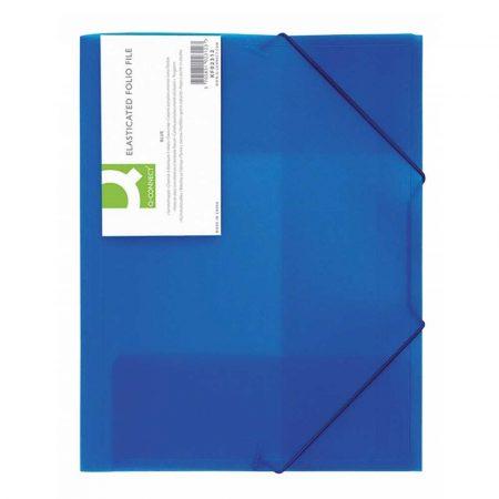 akcesoria biurowe 4 alibiuro.pl Teczka z gumką Q CONNECT PP A4 400mikr. 3 skrz. transparentna niebieska 56