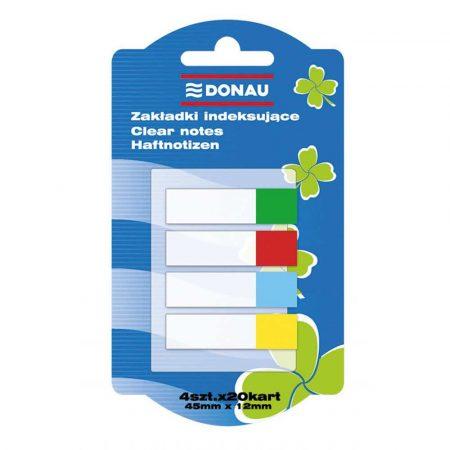akcesoria biurowe 4 alibiuro.pl Zakładki indeksujące DONAU PP 12x45mm 4x20 kart. mix kolorów 50