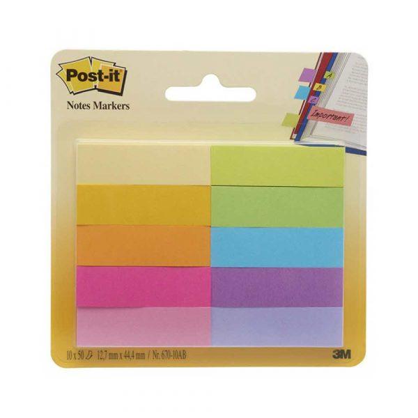 akcesoria biurowe 4 alibiuro.pl Zakładki indeksujące POST IT 670 10AB papier 12 7x44 4mm 10x50 kart. mix kolorów 51