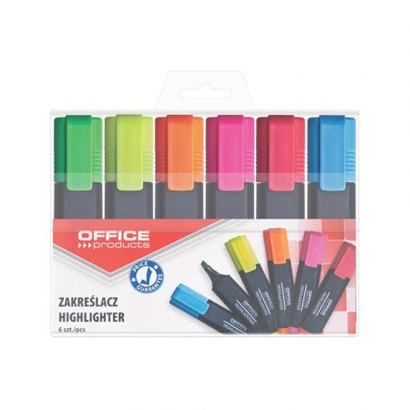 akcesoria biurowe 4 alibiuro.pl Zakreślacz fluorescencyjny OFFICE PRODUCTS 1 5mm linia 6szt. mix kolorów 9