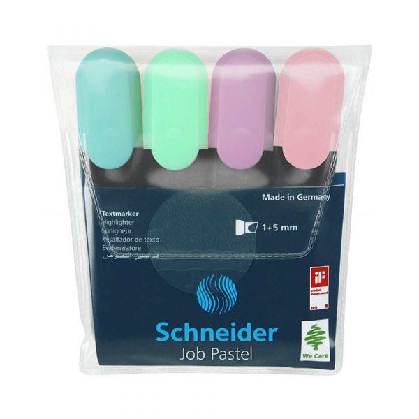 akcesoria biurowe 4 alibiuro.pl Zestaw zakreślaczy SCHNEIDER Job Pastel 1 5 mm 4 szt. mix kolorów 95