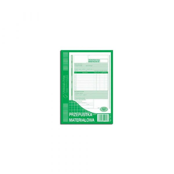 akcydensy 1 alibiuro.pl Przepustka materiałowa A5 oryginał 1 kopia 80 k MIP 322 3 30