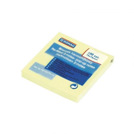 artykuły biurowe 4 alibiuro.pl Bloczek samoprzylepny DONAU typu Z 76x76mm 1x100 kart. jasnożółte 31