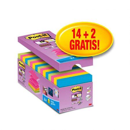 artykuły biurowe 4 alibiuro.pl Bloczek samoprzylepny POST IT Super sticky Z Notes R330 SS VP16 76x76mm 14x90 kart. mix kolorów 2 bloczki gratis 26