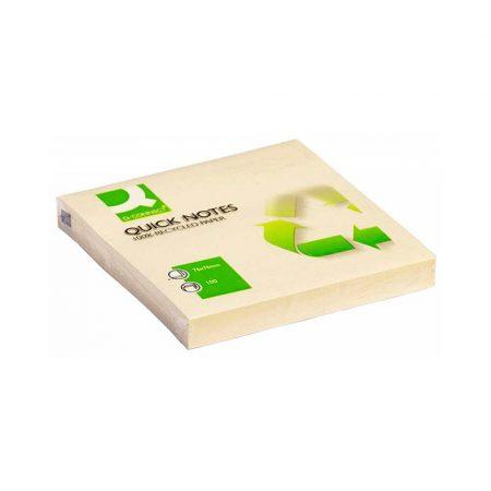 artykuły biurowe 4 alibiuro.pl Bloczek samoprzylepny Q CONNECT 100 Recycled 76x76mm 100 kart. żółty 55