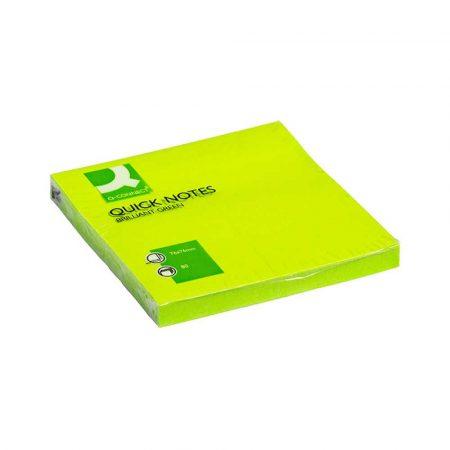 artykuły biurowe 4 alibiuro.pl Bloczek samoprzylepny Q CONNECT Brilliant 76x76mm 1x80 kart. zielony 73