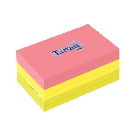 artykuły biurowe 4 alibiuro.pl Bloczek samoprzylepny TARTAN 12776 N 127x76mm 6x100 kart. mix kolorów 45