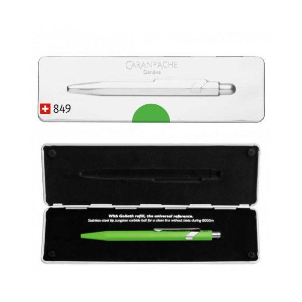 artykuły biurowe 4 alibiuro.pl Długopis CARAN D Inch ACHE 849 Pop Line Fluo M w pudełku zielony 61