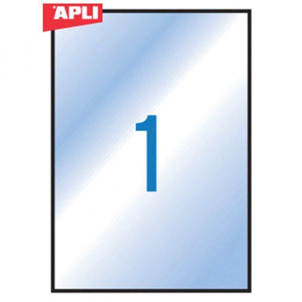 artykuły biurowe 4 alibiuro.pl Etykiety poliestrowe APLI 210x297mm prostokątne transparentne 10 ark. 2