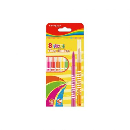 artykuły biurowe 4 alibiuro.pl Flamastry KEYROAD Fiber Marker neon 8szt. zawieszka mix kolorów 85