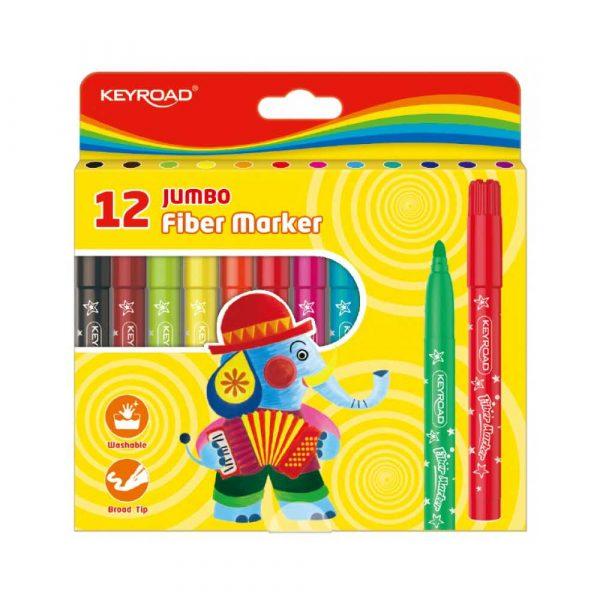 artykuły biurowe 4 alibiuro.pl Flamastry KEYROAD Jumbo 12szt. na zawieszce mix kolorów 78