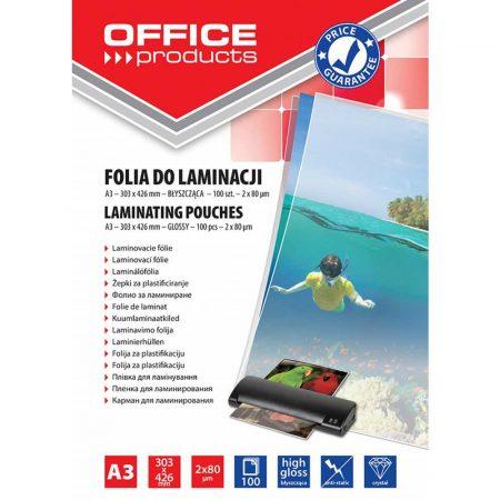 artykuły biurowe 4 alibiuro.pl Folia do laminowania OFFICE PRODUCTS A3 2x80mikr. błyszcząca 100szt. transparentna 78