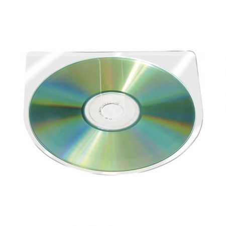 artykuły biurowe 4 alibiuro.pl Kieszeń samoprzylepna CD DVD Q CONNECT półokrągła 126x126mm 10szt. transparentna 77