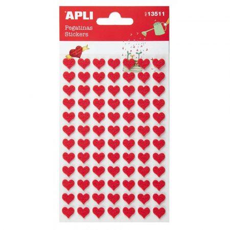 artykuły biurowe 4 alibiuro.pl Naklejki APLI filc serca 84 szt. czerwone 66