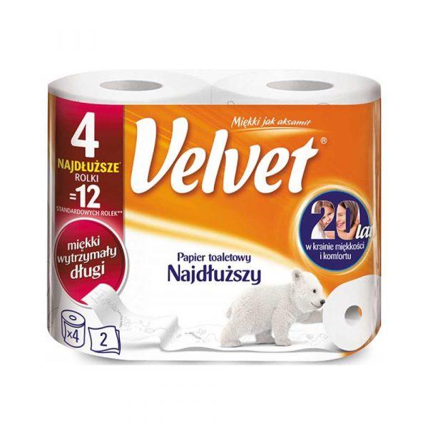 artykuły biurowe 4 alibiuro.pl Papier toaletowy celulozowy VELVET Najdłuższy 2 warstwowy 486 listków 4szt. biały 80