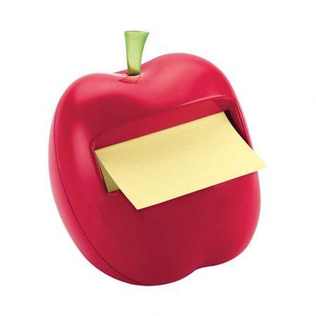 artykuły biurowe 4 alibiuro.pl Podajnik do karteczek POST IT APL 330 w kształcie jabłka czerwony bloczek GRATIS 20