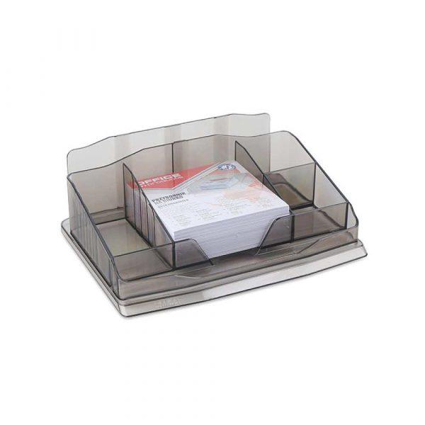 artykuły biurowe 4 alibiuro.pl Przybornik na biurko OFFICE PRODUCTS z karteczkami plastik dymny 52