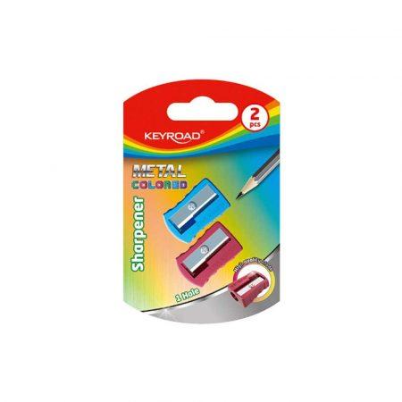 artykuły biurowe 4 alibiuro.pl Temperówka KEYROAD aluminiowa pojedyncza 2szt. blister mix kolorów 92