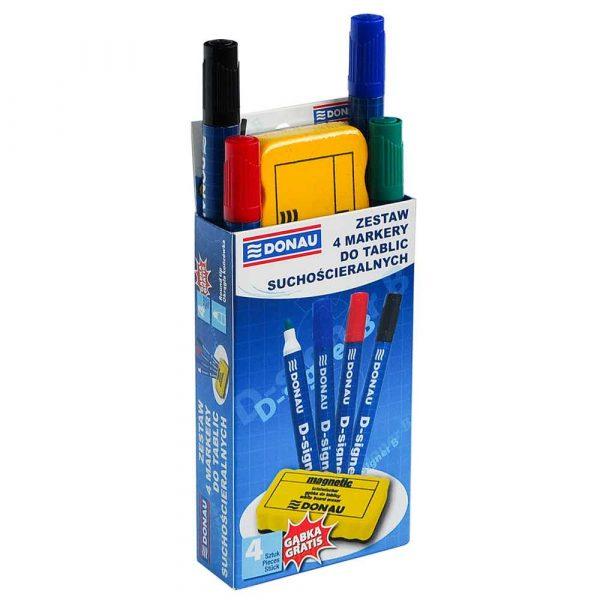 artykuły biurowe 4 alibiuro.pl Zestaw 4 markery do tablic DONAU D Signer B okrągły mix kolorów gąbka gratis 37