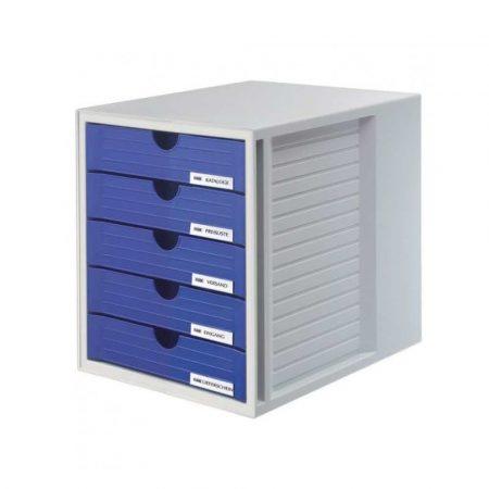artykuły biurowe 4 alibiuro.pl Zestaw 5 szufladek HAN System Box polistyren A4 szaro niebieski 82
