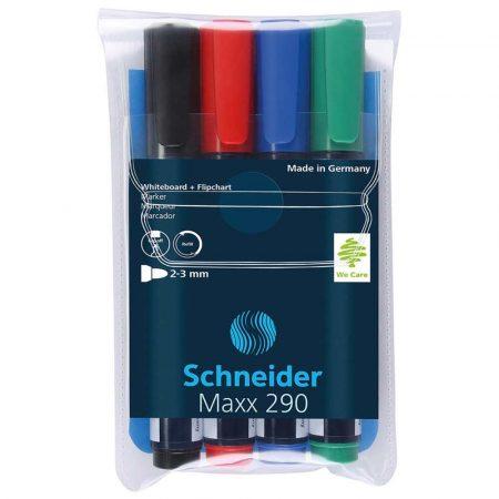 artykuły biurowe 4 alibiuro.pl Zestaw markerów do tablic SCHNEIDER Maxx 290 2 3mm 4 szt. miks kolorów 63