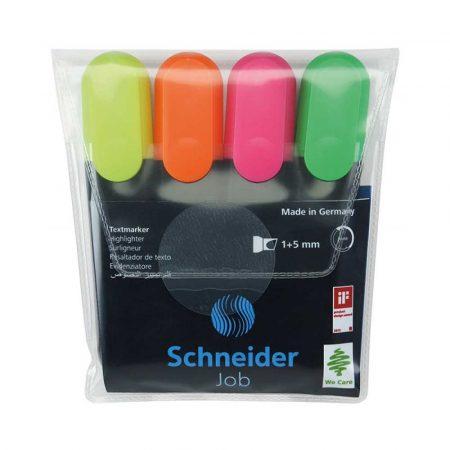 artykuły biurowe 4 alibiuro.pl Zestaw zakreślaczy SCHNEIDER Job 1 5 mm 4 szt. miks kolorów 32
