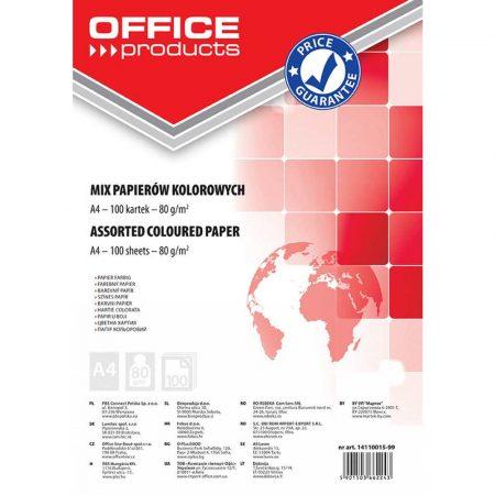 artykuły papiernicze 4 alibiuro.pl Papier kolorowy OFFICE PRODUCTS A4 100 arkuszy 80gsm mix kolorów 85